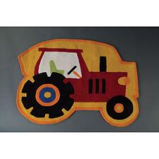 Kids Small Tractor Print Rug 90x80cm Carpet Hand Tuft Childrens Room Floor Mat