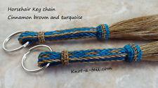 Horsehair Key Chain, rugged, Cinnamon/Turquoise, Western keychain, Horsehair