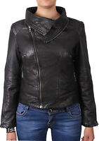 Brandslock Womens Genuine Leather Biker Jacket With Detachale Collar