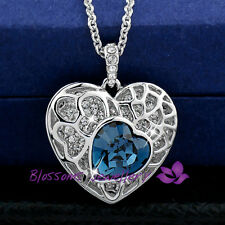 18K White GOLD Layered Sapphire HEART Pendant NECKLACE CRYSTAL ES324