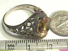 Vintage ESTATE Silver RING 7 CITRINE FILIGREE old REAL STERLING SMALL DELICATE