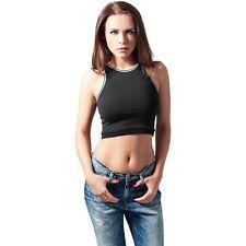 Bauchfreie Damenblusen, - tops & -shirts mit Rundhals-Ausschnitt