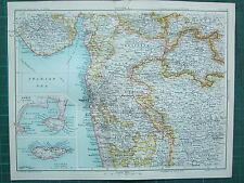 1893 India mapa del Imperio ~ sección de la India x ~ Bombay Berar Aden Mas