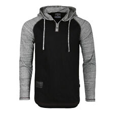 Zimego Long Sleeve Raglan Henley Hoodie Round Bottom Semi Longline T-Shirt