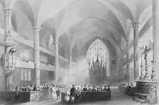CANADA Interior of Montreal Cathedral - Steel Engraving Print