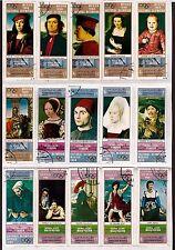 YEMEN 15T collés sur feuille: portrait de peintre cèlebres ,musées renommés C225