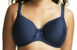 Elomi Hermione Bra Size 30F Padded Underwired Bandless Navy Blue Full Cup 8120