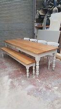 Solid Oak Top 7x3 Fattoria tavolo da pranzo e 4 sedie e panca/MADE TO MEASURE