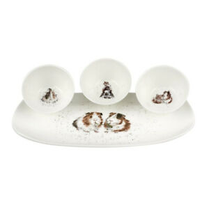 Royal Worcester Wrendale Designs Guinea Pigs 3 Bowl & Serving Tray Set (BOXED)