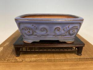 "Rare Design Blue Glazed  Tokoname Bonsai Tree Pot Made By Bigei 5 5/8"""