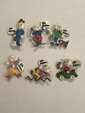 Set Of 6 Vtg 1970's SNL Oh No Mister Mr Bill Enameled Pins Saturday Night Live