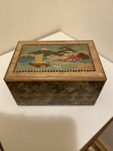 Antique/Vintage Japanese Inlayed Intricate Puzzle Box W Secret Department