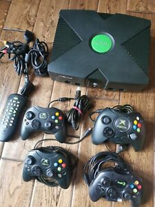 Original Microsoft XBOX Console - Controllers + Remote