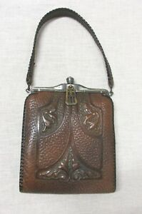 ARTS AND CRAFTS HAND MODELED LEATHER PURSE MADE BY TEITZEL