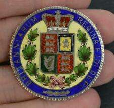 1844 Young Victorian Solid Silver & Enamel Crown Coin Brooch