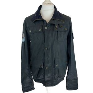 Superdry Limited Grey Waxed Road Racer Jacket with Pockets. Size Medium. EXC CON