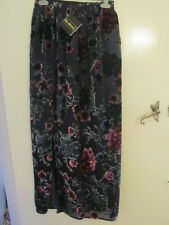 Dark Purple & Blue Floral Velvet Style Silk Mix Maxi Skirt in Size 12 - NWT