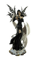Zeckos Yin and Yang Dark Fairy and Ice Dragon Statue 26 In.