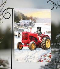 NEW Toland - Tractor Dog - Cute Farm Country Winter Snow Puppy Garden Flag