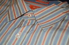 Faconnable L/S Blue White Orange Dot Stripe Club Fit mens shirt cotton Large L