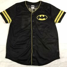 BATMAN button-front jersey Sz Boys Lrg baseball style ComicCon short sleeve #39