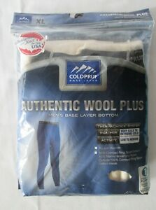 MEW COLDPRUF MEN'S AUTHENTIC WOOL PLUS BASE LAYER BOTTOM PANTS SIZE XL OATMEAL