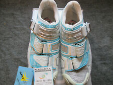 Shimano SH-WR80 Road Cycling Shoes Womens US 5.1 EUR 36 White Blue 3 Bolt New