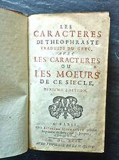 LA BRUYERE: Les Caractères, 1699, totalité des caractères avec clef en marge,rel