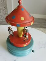 1940's Antique Folk Art Wooden Hand Carved Carousel Music Box Song Tin Soldiers