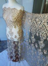 """2 mètres ivoire or Broderie Diamant Clous en dentelle de mariée Net tissu... 58"""" LARGE"""