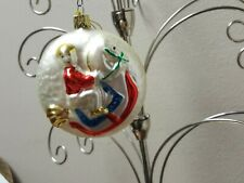 Vintage West Germany BOY ON ROCKING HORSE Blown Glass Christmas Ornament