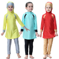 Modest Muslim Kids Girls Swimwear Full Cover Swimsuit Islamic Beachwear Swim Set