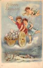 Happy Birthday Angel Cherub Letter Cart Antique Postcard K106157