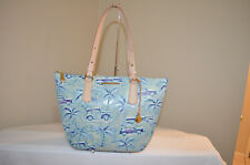 NWT $395 Brahmin Large Willa Antique Cars Tote Shoulder Bag -Sky Copa Cabana
