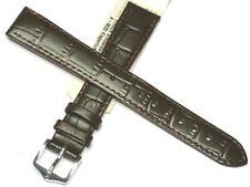 HIRSCH 16MM EXTRA LONG BROWN GENUINE LEATHER ALLIGATOR GRAIN WATCH STRAP