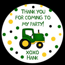 """20 - 2"""" Round Stickers - Farm Birthday Party - Tractor Design - Polka Dots"""