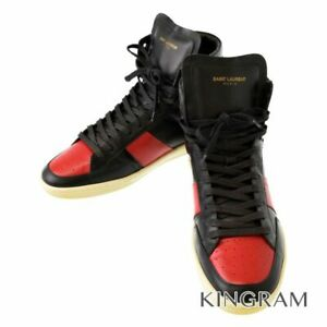 SAINT LAURENT 10 hole high cut 418026 CN440 1074 Black red sneakers from Japan