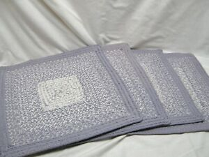 4 COTTON BRAIDED WEAVED SQUARE PURPLE LAVENDER WHITE PLACEMATS 15""