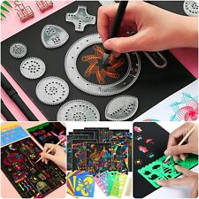 52Pc Spirograph Drawing Toy With Magic Color Scratch Art Paper Card Set For Kids