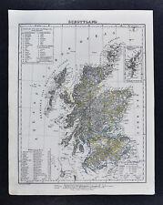 1847 Flemming Map Scotland - Edinburgh Glasgow Dundee Alberdeen Loch Ness UK