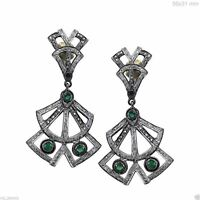 Emerald Gemstone Real Diamond Pave Dangle Earrings .925 Sterling Silver Jewelry