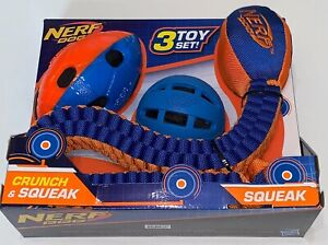 Nerf Dog 3 Toy Set Crunch and Squeak Tuff Tug Ball Football, 3pc Set Brand New