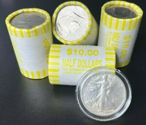 Unsearched Half Dollar Coin Roll with Bonus 90% Silver Walking Liberty Coin