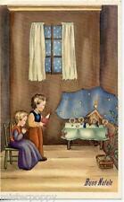 Bambini pregano con Presepe Natale Childrens Xmas PC Circa 1930 Italy