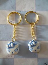 """Hello Kitty """""""" Blue / Gold  tone """""""" Keychain Ring** Lot-of-2** Free Shipping"""