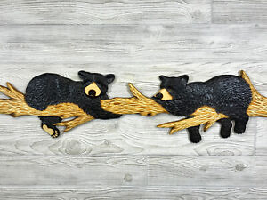 NEW! 4 FT Hand Carved 2 BLACK BEAR CUBS on BRANCH Wall Art Chainsaw Wood Carving