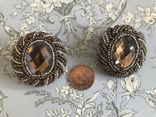 Pair Extra Large Vintage Bead Buttons Topaz Faux Gem Size 60 40 mm Brooch Style
