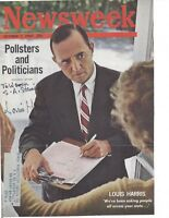 LOUIS HARRIS, POLLSTER, SIGNED MAGAZINE COVER / AUTOGRAPH