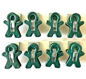 """Set of Eight Forest Green 2"""" Magnetic Man Clips FREE SHIPPING!"""