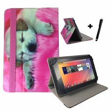 "8 inch Case Cover Book For ARCHOS 90 Cesium Tablet - 8"" Dog Puppy Pink"